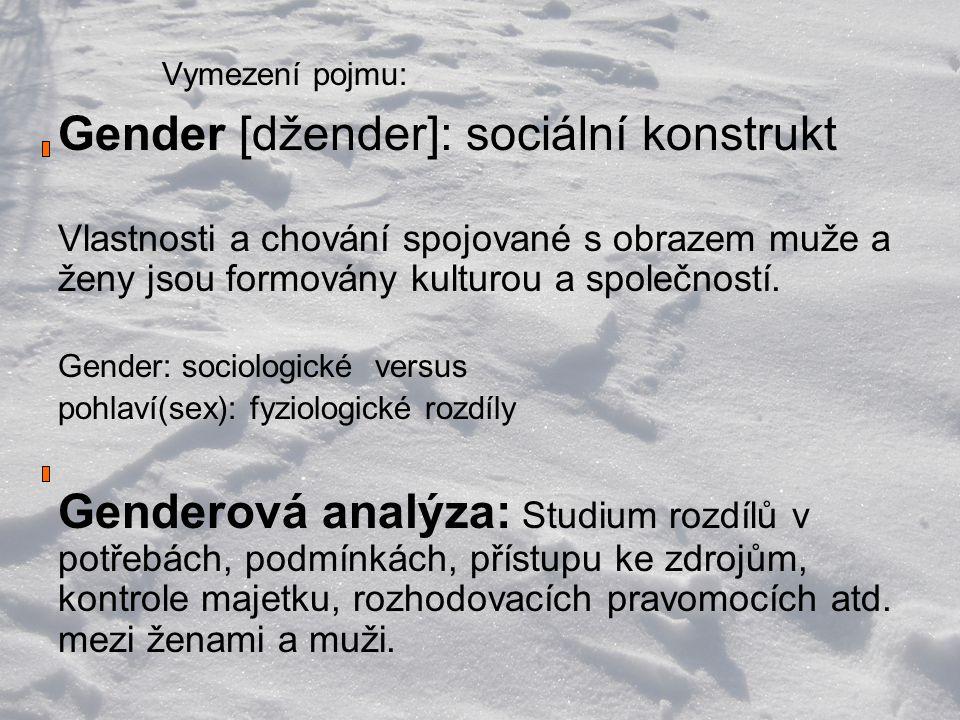 Vymezení pojmu: Gender [džender]: sociální konstrukt